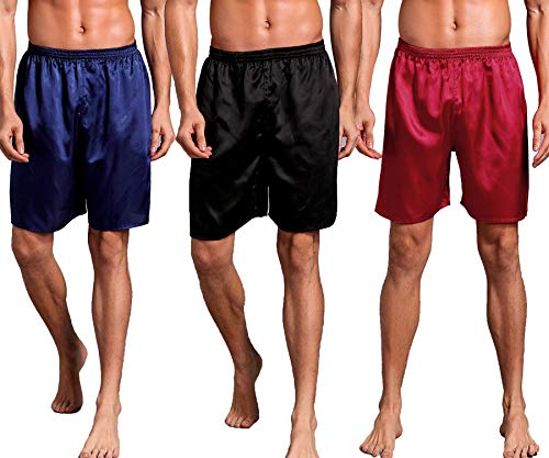 Mobarta Men's Satin Boxers Silk Sleepwear Underwear Shorts Lounge Beach Shorts (3 Pack(Blue+Black+Red), Medium(Waist 27