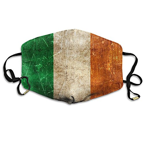 AlioaI Vintage Aged And Scratched Irish Flag Unisex Dust Allergy Flu Masks Washable Activated Carbon Breath Healthy Safety Mouth (Scratched Face Halloween)