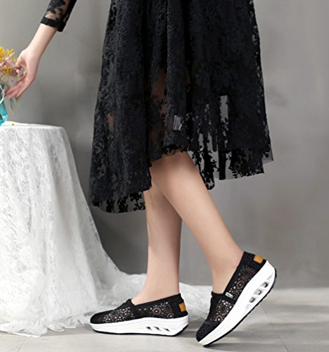 Linnuo Zeppa Running Sneakers Pizzo Nero Donna Out Shoes Fitness Plateau Piattaforma Hollow Casual Dimagranti Scarpe Di Sports Con Mocassini r8wqIRrS