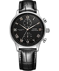 BUREI Men's Multifunction Chronograph Sports Watch with Gold Hands Black Dial and Leather Band
