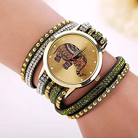 Amazon.com: Fashion Bracelet Woman luxury brand Elephant geneva watch: Clothing