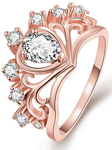 Anazoz 18K Gold Plated Women Teardrop Zirconia Crown Ring Band Women Size 5.5 B C Titanium Bands