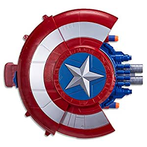 Marvel AVENGERS - Captain America - NERF Elite Blaster with Shield - Super Hero Dress Up - Kids Toys & Outdoor Games - Ages 8+