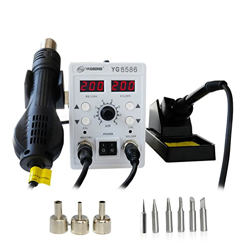 Industrial Station - YAOGONG 8586 rework station Double digital 2 In 1 smd rework soldering station hot air mobile phone repair tools