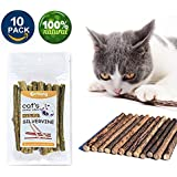 VMIZIV Cat Catnip Sticks, 10 Pcs Natural Matatabi Silvervine Sticks Chew Toys Cat Treats Sticks Natural Cat Dental Chews for Teeth Cleaning