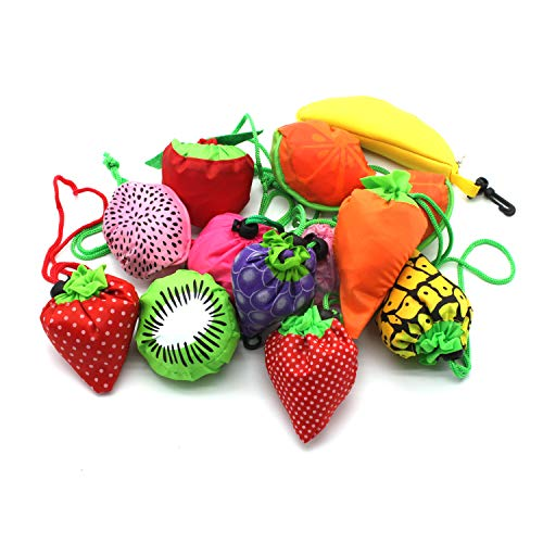 (YUYIKES 10PCS Fruits Reusable Grocery Shopping Tote Bags Folding Pouch Storage Bags Convenient Grocery Bags for Shopping)