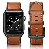 SWEES Leather Band Compatible Apple Watch 42mm 44mm, Genuine Leather Retro Vintage Wristband Compatible iWatch Apple Watch Series 4, Series 3, Series 2, Series 1, Sports & Edition Men, Orange
