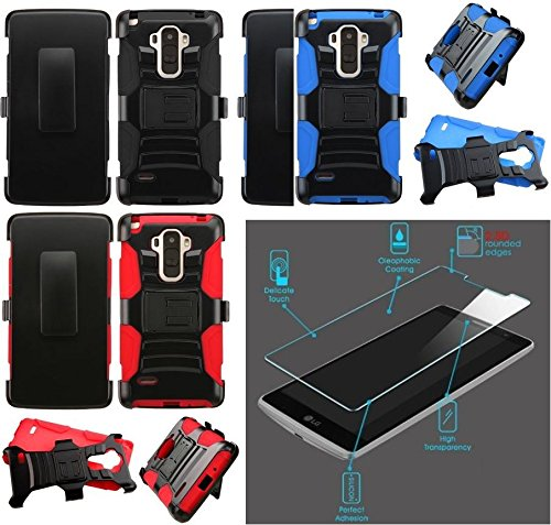 [ NP ARMOR ] Premium Tempered GLASS Screen Guard Protector + Holster Belt Clip Phone Case For LG G Stylo / Stylus / LS770 / H631 / LG G Vista 2 / H740 (BLACK Holster) -  NP City Inc