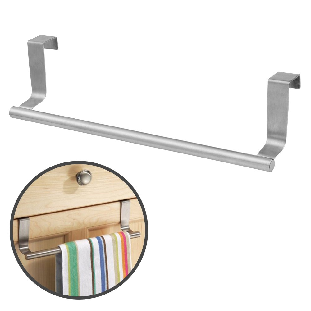 Over Cabinet Door 14'' Dish Towel Rack Bar Holder Stainless Steel with 22 Lbs Maximum Load - Effortless Installation on Any Bathroom and Kitchen