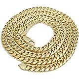 10K Italian Yellow Gold Miami Cuban Chain 28 Inches 7MM Hollow