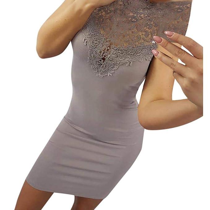 Vestidos Elegantes,Ropa de Mujer Sin Mangas Cuello Redondo,Sexy Costura de Encaje Hueco Falda de la Cadera,Hanomes ❤ Slim Fit Sexy Vestidos Fiesta ...