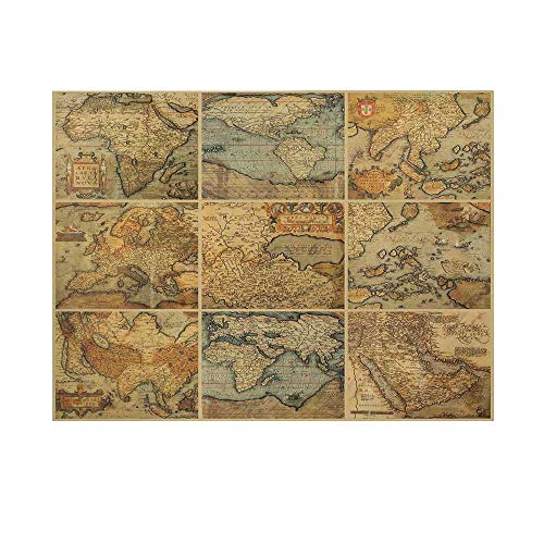 Wanderlust Decor Photography Background,Collage with Antique Old World Maps Vintage Style Ancient Collection of Civilization Print Backdrop for Studio,7x5ft
