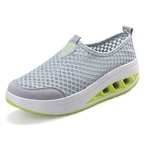 mit Sommer Sneakers Grau Eagsouni® Atmungsaktiv Laufschuhe Damen Aquaschuhe Mesh Rutschfest Sportschuhe Netz Keilabsatz XqxwARPAE4