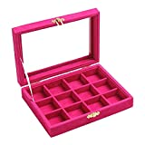 New Wayzon 12 Grids Jewelry Holder Organizer Box Storage Case Earrings Rings Disply with Lock for Women Girls (Rose)