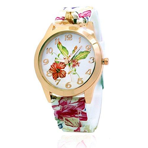 NYKKOLA Women Silicone Printed Flower Causal Quartz Wrist Watches Chronograph Silicone Watch - Pink from NYKKOLA