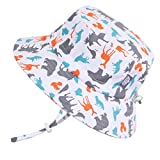 Kids Foldable Adjustable Summer Sunhat 50 UPF, Stay-on Chin Strap, Animal Print (L: 2-12Y, Bucket Hat: Woodland)
