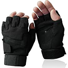 OMGAI Men's Fingerless Military Tactical Gloves of Hard Knuckle for Airsoft Army Shooting Paintball Motorcycle Outdoor Sports Black