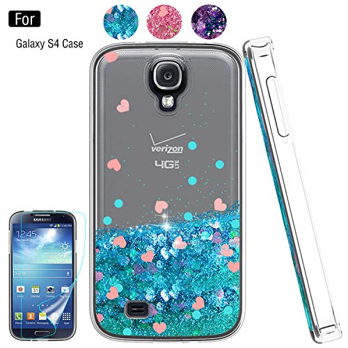 Galaxy S4 Liquid Case,S4 Case, Galaxy S4 Case with HD Screen Protector for Girls Women,Atump Bling Shiny Moving Quicksand Liquid TPU Protective Phone Case for Samsung Galaxy S4 Blue]()