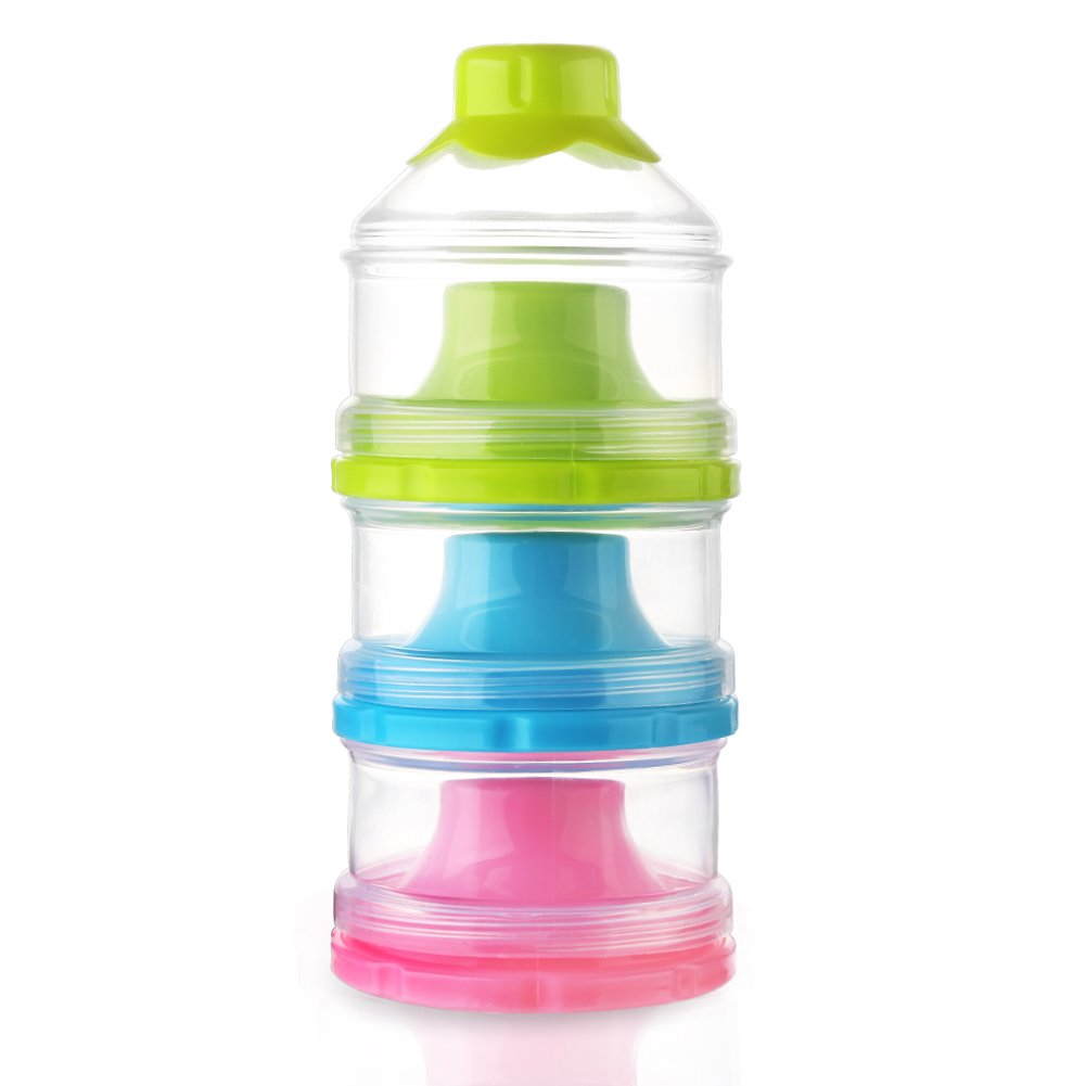 Baby Milk Powder Formual Dispenser, Non-Spill Stackable Snack Storage Container, BPA Free,3 Feeds (2 Pack) Accmor