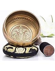 Silent Mind ~ Tibetaanse klankschaal set ~ Bronzen Mantra Design ~ Met dubbelzijdige hamer en zijden kussentje ~ bevordert harmonie, chakra healing, en mindfulness ~ prachtig geschenk