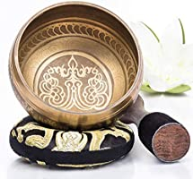 Silent Mind ~ Tibetan Singing Bowl Set ~ With Dual Surface Mallet and Silk Cushion ~ Promotes Peace, Chakra Healing, and...