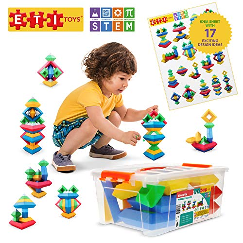 ETI Toys   STEM Learning   30 Piece Stack'em Pyramid; Build Tree, Owl, Lighthouse, Endless Designs! 100% Non-Toxic, Fun, Creative Skills Development! Best Gift, Toy for 3, 4, 5 Year Old Boys and Girls