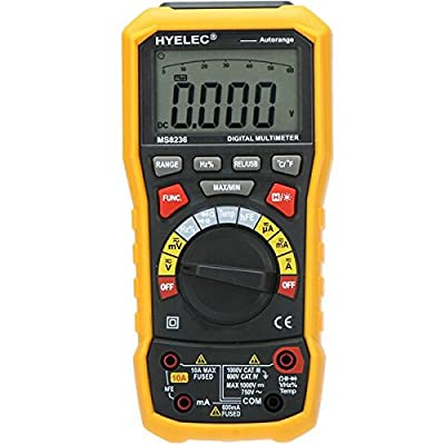 HYELEC MS8236 Auto Range Digital Multimeter with AC/DC Amp Volt Resistance Capacitance Frequency Temperature Test and USB Data Logger