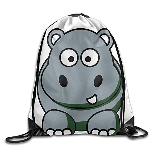 Lovely Cartoon Hippo Animals Drawstring Storage Bag Sport Bag For Men & Women School Travel Backpack