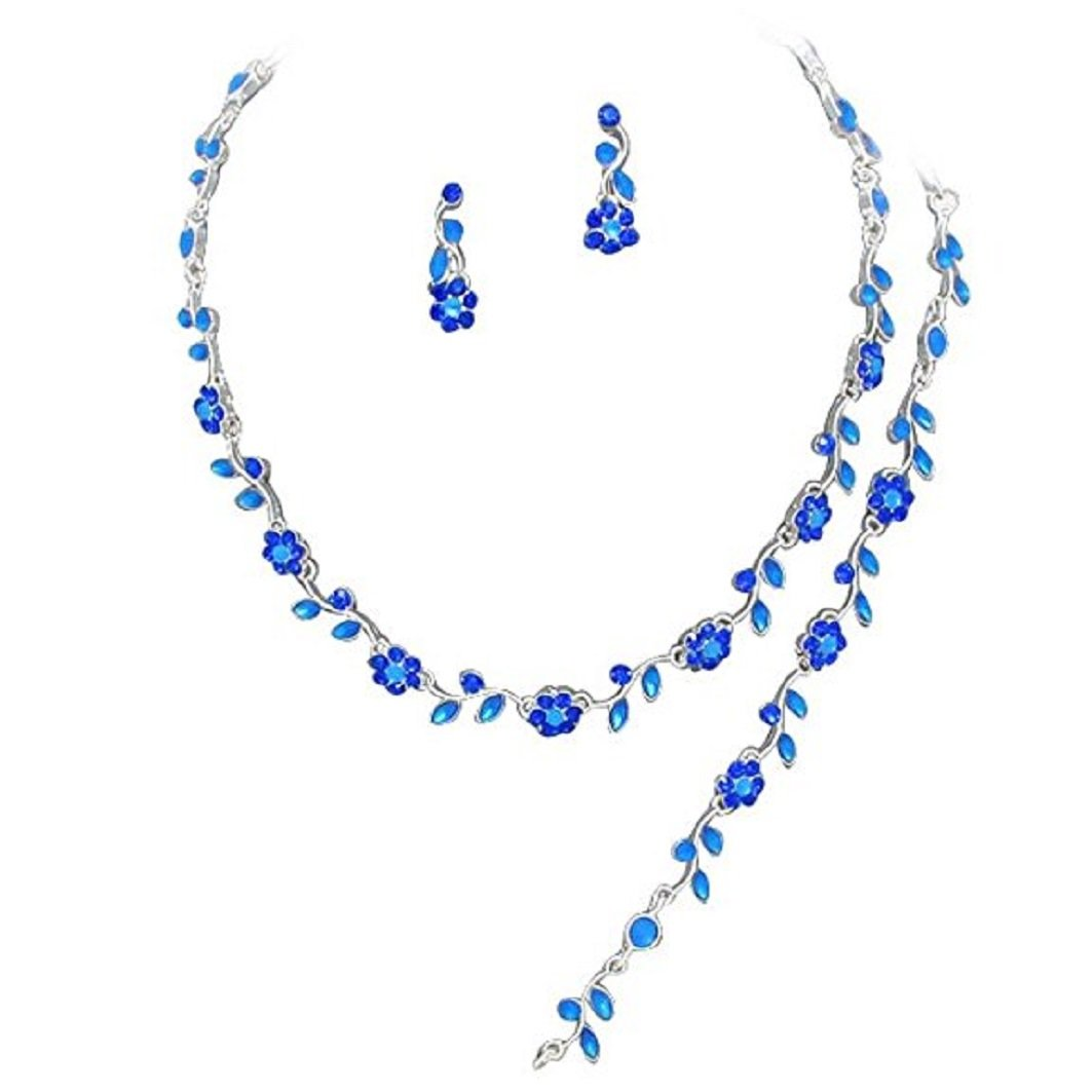 Floral Vine 3-Piece Necklace, Earrings & Bracelet Jewelry Set Nicely Boxed (Royal Blue)