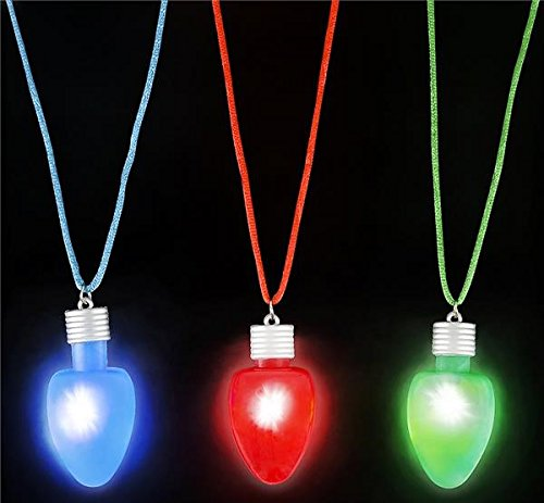 Neliblu FUN Christmas LED Light Up Christmas Bulb Necklace Party Favors Stocking Stuffers (3 Pack) by ()
