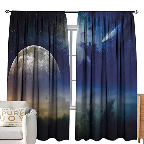 bybyhome MoonBedroom Windproof curtainFull Moon Rising with Shooting Star Cloudy Night Sky Celestial ElementsDurable W108 xL72 Navy Blue White Apricot (Celestial Fireplace Screen)