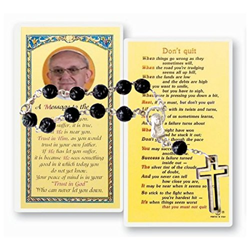 (Gifts by Lulee, LLC Carved Black Rose Glass Bead Hand Rosary Bracelet with Pope Francis Message to the Sick Prayer Card)