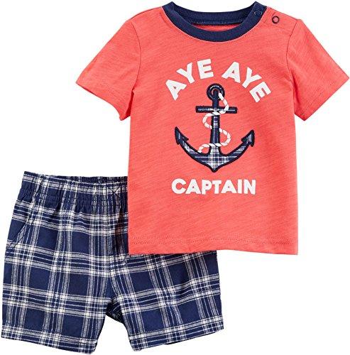 Carter's Infant & Toddler Boys Aye Aye Captain Anchor Baby Outfit Shirt & Shorts