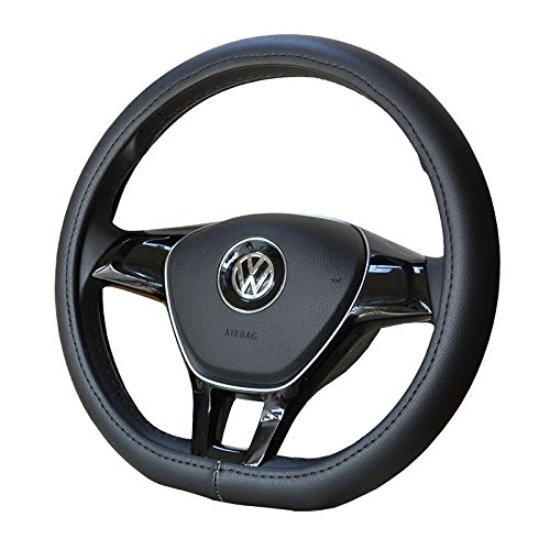 """Black Color D ring shape car steering wheel covers leather solid auto steering wheels cover for VW Volkswagen new Lavida, Santana Jetta 15"""""""
