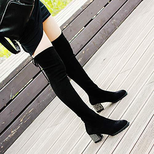 A Boots HBDLH Ginocchio Con Cravatta Tubo In E Del Storia Spesse Acqua black da A donna Tacchi Autunno Lungo In Knight Stivali Alti Spillo Scarpe 6Cm Inverno 44TrU1