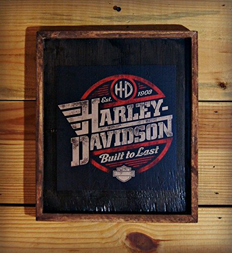 Framed Harley Davidson Wooden Sign by Wooden Crow Company