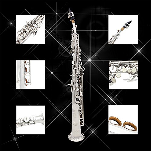 LADE Soprano Saxophone SAX Bb Brass Lacquered Body and Keys with Lubricating Cork Grease by LADE (Image #2)