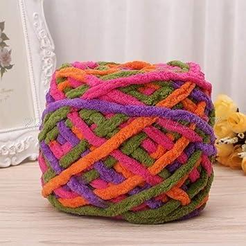 Ovillo de lana marrón de 100 g de algodón suave para tejer a mano, tejido grueso