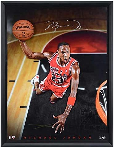 "Michael Jordan Autographed""Breaking Through"" 44x60 Framed Photograph Chicago Bulls LE #/123 UDA Stock #174307 - Autographed NBA Photos"