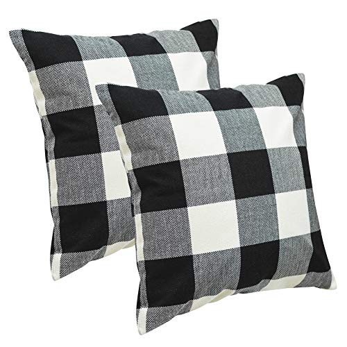 Checkered Pillow (USTIDE 2-Pack Black/White Buffalo Checkered Throw Pillow Covers Cotton Linen Square Checkered Throw Decorative Cushion Case for Sofa 18 x 18 Inch)