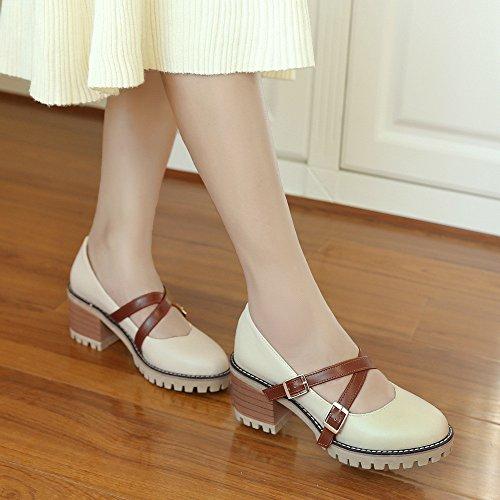 tacchi casual luce della grossolani single apricot scarpe donne college Alla con molla alti e i Tvdng