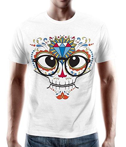 adrotes – T-Shirt MEXICAN SKULL NERD DIAMOND weiß Gr. S - 5XL