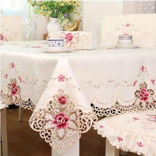FidgetKute Tablecloth White Embroidered Lace Table Cloth Wedding Party Dining Home Decor 175X270cm/68X106inch