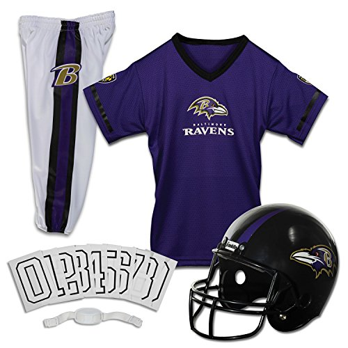 Franklin Sports Deluxe NFL-Style Youth Uniform - NFL Kids Helmet, Jersey, Pants, Chinstrap and Iron on Numbers Included - Football Costume for Boys and Girls (Baltimore Ravens Logo Jersey)
