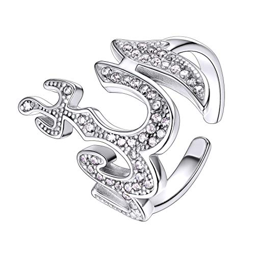 Allah Ring for Women Sterling Silver Cubic Zirconia Adjustable Open Ring Muslim Allah Jewelry Arabic Gift (After Effects Of 9 11 On Muslim)