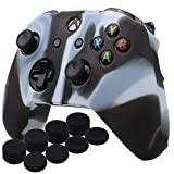 YoRHa Silicone Cover Skin Case for Microsoft Xbox One X & Xbox One S controller x 1(black white) With Pro thumb grips 8 pieces For Sale