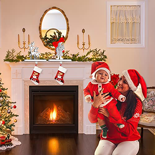Christmas Stocking Holders-Set of 2 Assorted Styles, Reindeer Stocking Holder and Santa Snowflake Holder Xmas Stocking Hanger for Fireplace Mantle as The Essential Christmas Decor( Metal Silvery)