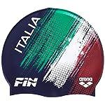 Arena-Silicone-cap-Fin-Italia-Cuffia-Unisex-Adulto-Navy-White-Taglia-Unica