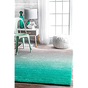 This Item Modern Shag Rug Ombre Teal Grey Shaggy Area Carpet Floor Mat Soft Fluffy Living Room Bedroom Kitchen Rugs Home 4 X 6 Rectangle