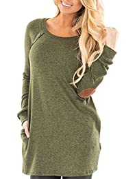 Alemitory Amelitory Women's Pockets and Faux Suede Elbow Patch Long Sleeve Tunic Sweatshirt Tops